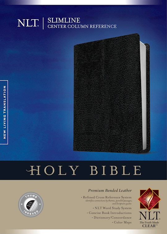 NLT Slimline Center Column Reference Bible-Black Premium Bonded Leather Indexed | SHOPtheWORD