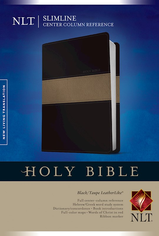 NLT Slimline Center Column Reference Bible-Black/Taupe TuTone | SHOPtheWORD