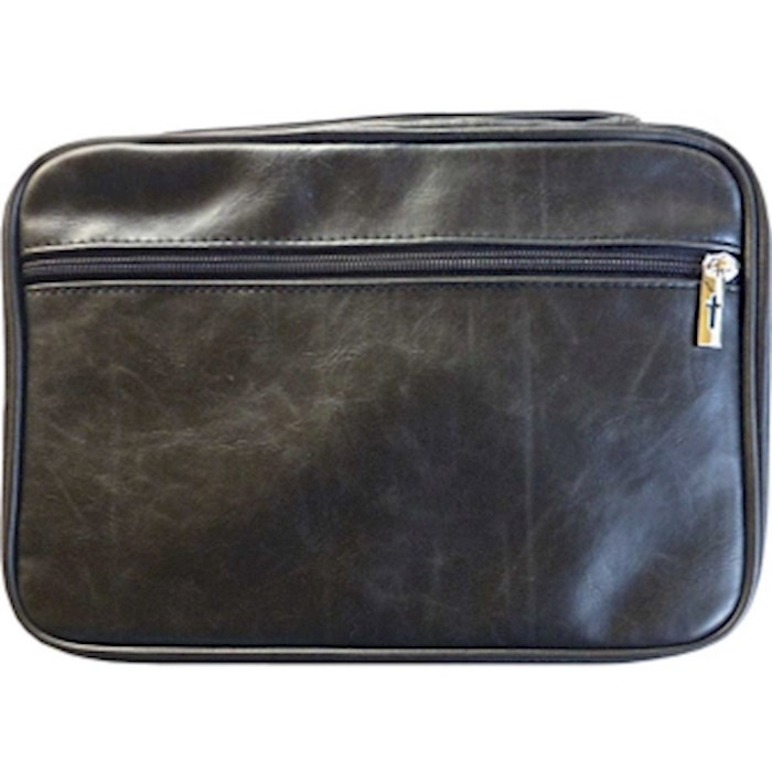 Bible Cover-Distressed Leather Look-XX Large-Black    SHOPtheWORD