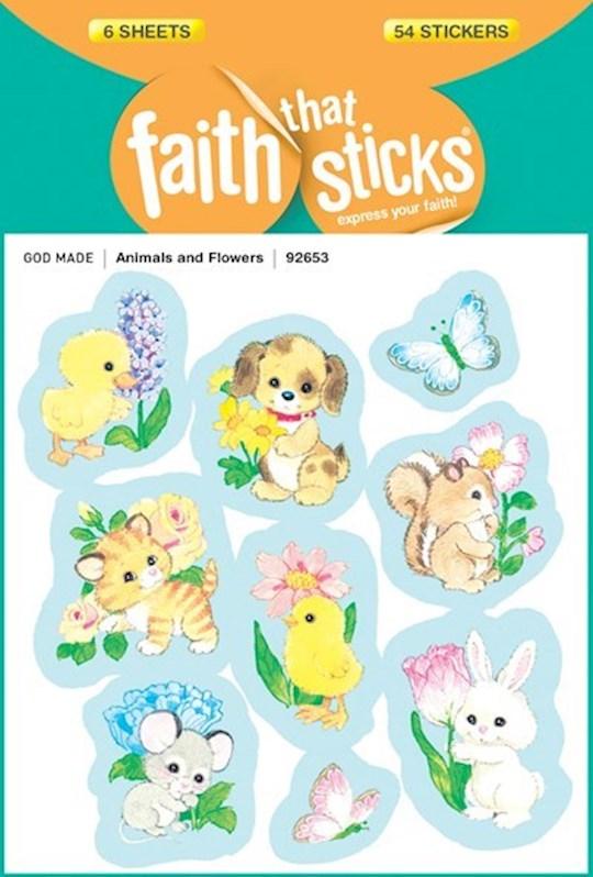 Sticker-Animals & Flowers (6 Sheets) (Faith That Sticks) | SHOPtheWORD