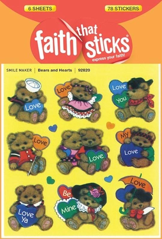 Sticker-Bear And Hearts (6 Sheets) (Faith That Sticks) | SHOPtheWORD