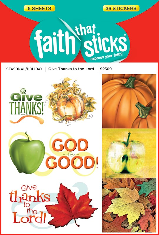 Sticker-Give Thanks To The Lord (6 Sheets) (Faith That Sticks) | SHOPtheWORD