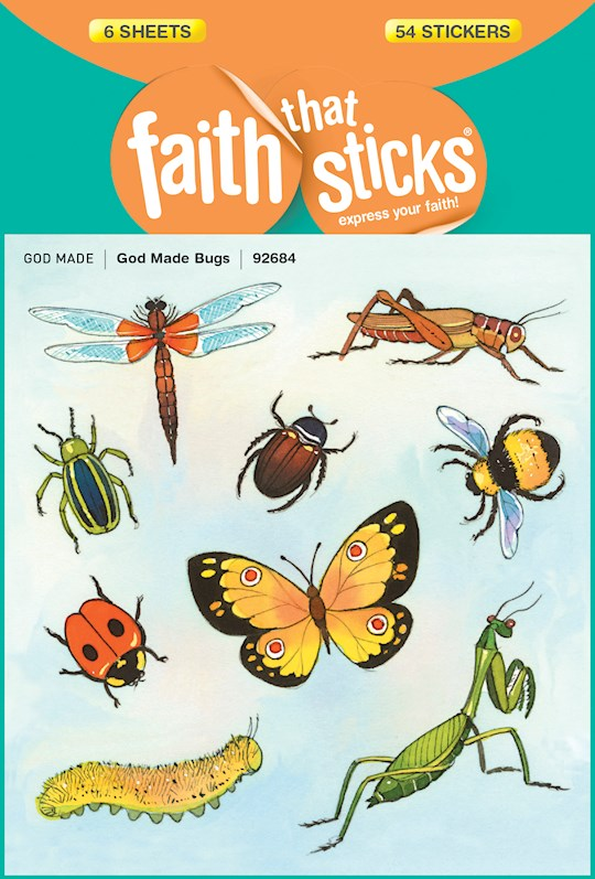 Sticker-God Made Bugs (6 Sheets) (Faith That Sticks) | SHOPtheWORD