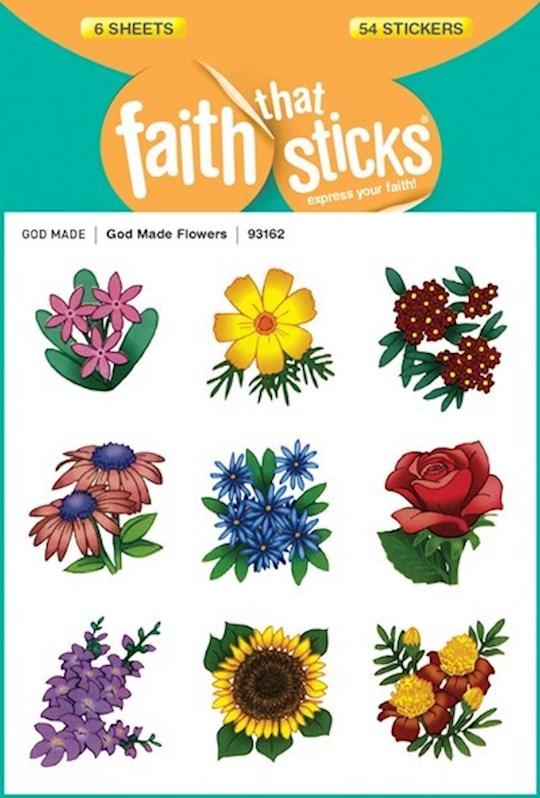 Sticker-God Made Flowers (6 Sheets) (Faith That Sticks)   SHOPtheWORD