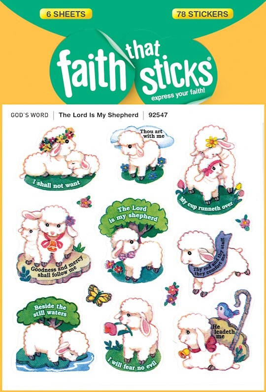 Sticker-Lord Is My Shepherd (6 Sheets) (Faith That Sticks) | SHOPtheWORD