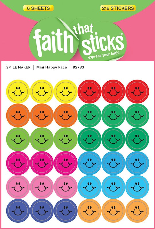 Sticker-Mini Happy Face (6 Sheets) (Faith That Sticks) | SHOPtheWORD