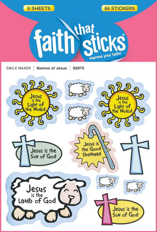 Sticker-Names Of Jesus (Faith That Sticks) (6 Sheets) | SHOPtheWORD