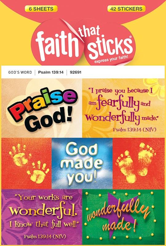 Sticker-Psalm 139:14 (6 Sheets) (Faith That Sticks) | SHOPtheWORD