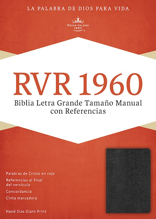 Span-RVR 1960 Hand Size Giant Print Reference Bible-Black Imitation Leather Indexed (Repack) | SHOPtheWORD