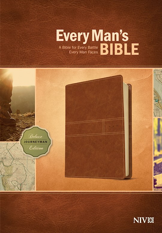 NIV Every Man's Bible-Deluxe Journeyman Edition-Burnt Khaki LeatherLike | SHOPtheWORD