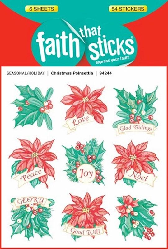Sticker-Christmas Poinsettia (6 Sheets) (Faith That Sticks) | SHOPtheWORD