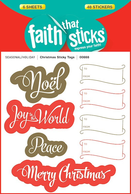 Sticker-Christmas Sticky Tags (6 Sheets) (Faith That Sticks) | SHOPtheWORD