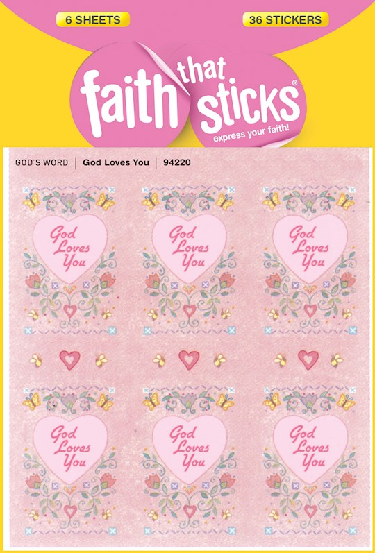 Sticker-God Loves You (6 Sheets) (Faith That Sticks) | SHOPtheWORD