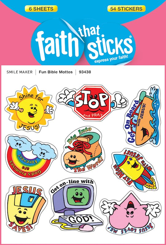 Sticker-Fun Bible Mottos (6 Sheets) (Faith That Sticks: Smile Maker) | SHOPtheWORD