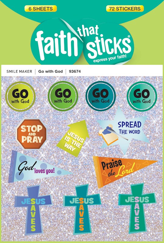Sticker-Go With God (6 Sheets) (Faith That Sticks) | SHOPtheWORD