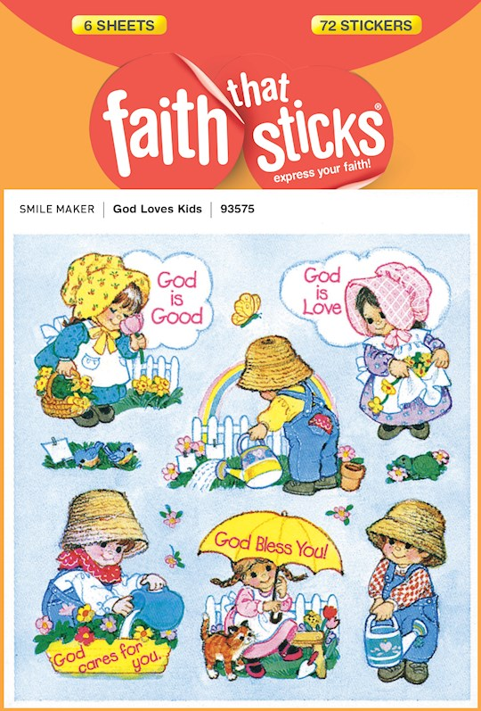Sticker-God Loves Kids (6 Sheets) (Faith That Sticks) | SHOPtheWORD