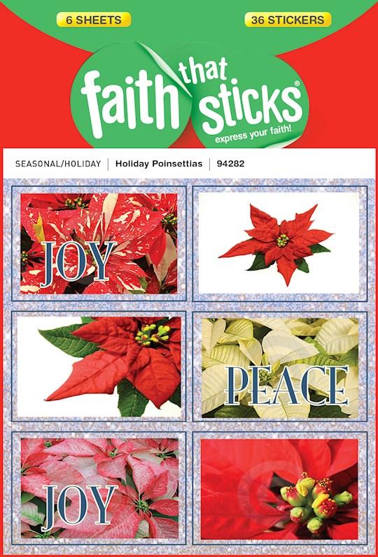 Sticker-Holiday Poinsettias (6 Sheets) (Faith That Sticks) | SHOPtheWORD