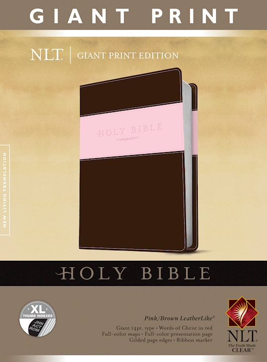 NLT Giant Print Bible-Pink/Brown TuTone Indexed | SHOPtheWORD