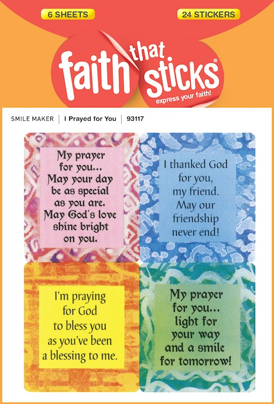 Sticker-I Prayed For You (6 Sheets) (Faith That Sticks) | SHOPtheWORD