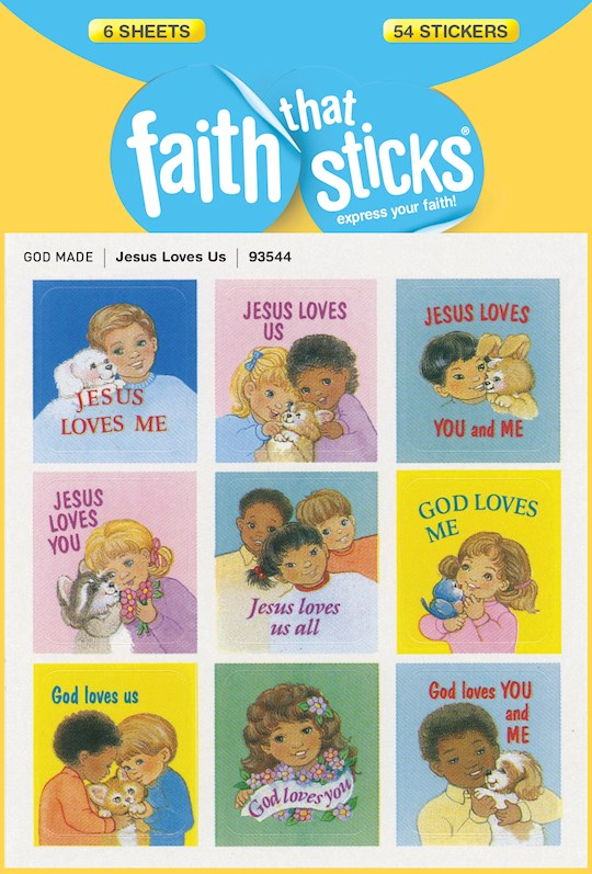 Sticker-Jesus Loves Us (6 Sheets) (Faith That Sticks) | SHOPtheWORD