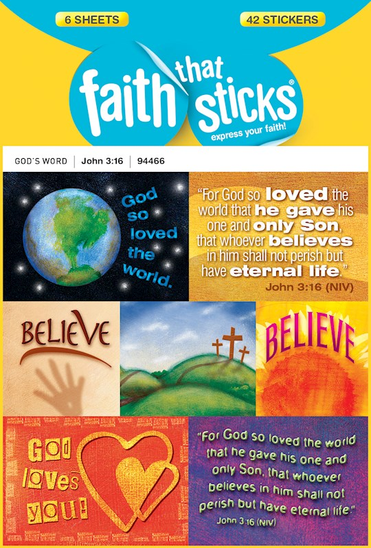 Sticker-John 3:16 (6 Sheets) (Faith That Sticks) | SHOPtheWORD