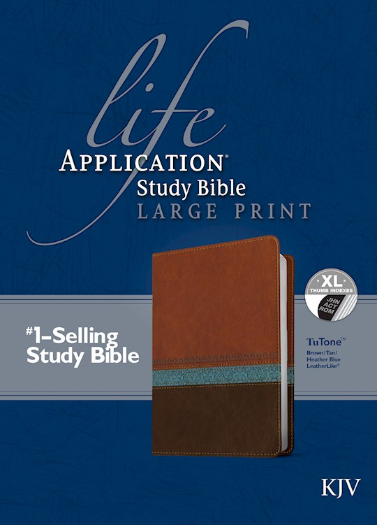 KJV Life Application Study Bible/Large Print-Brown/Tan/Blue TuTone Indexed | SHOPtheWORD