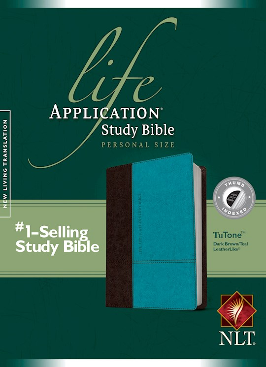NLT Life Application Study Bible/Personal Size-Dark Brown/Teal TuTone Indexed | SHOPtheWORD