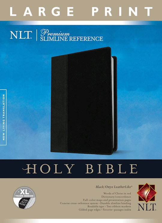 NLT Premium Slimline Reference/Large Print Bible-Black/Onyx TuTone Indexed | SHOPtheWORD