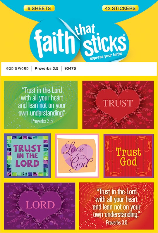 Sticker-Proverbs 3:5 (6 Sheets) (Faith That Sticks) | SHOPtheWORD