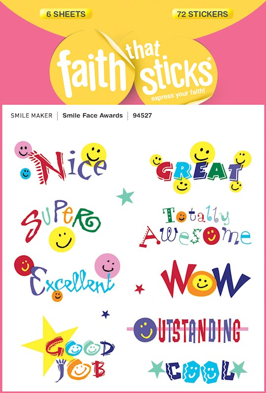 Sticker-Smile Face Awards (6 Sheets) (Faith That Sticks) (Not Available-Out Of Print) | SHOPtheWORD