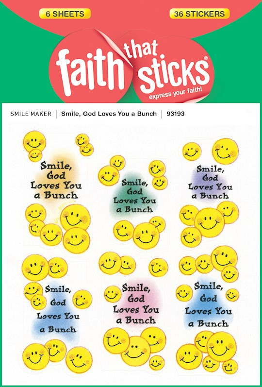 Sticker-Smile, God Loves You A Bunch (6 Sheets) (Faith That Sticks) | SHOPtheWORD