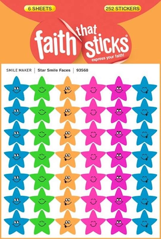 Sticker-Star Smile Faces (6 Sheets) (Faith That Sticks)   SHOPtheWORD