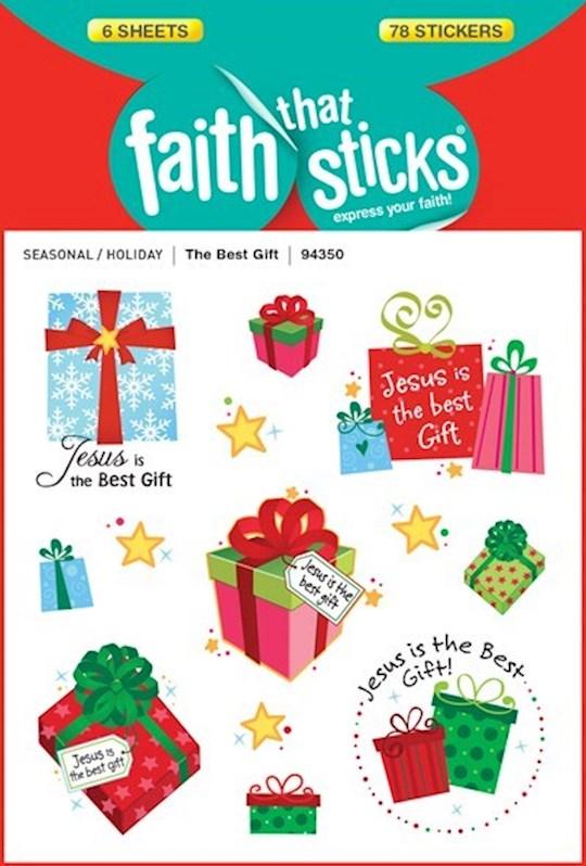 Sticker-The Best Gift Sparkle (6 Sheets) (Faith That Sticks) | SHOPtheWORD