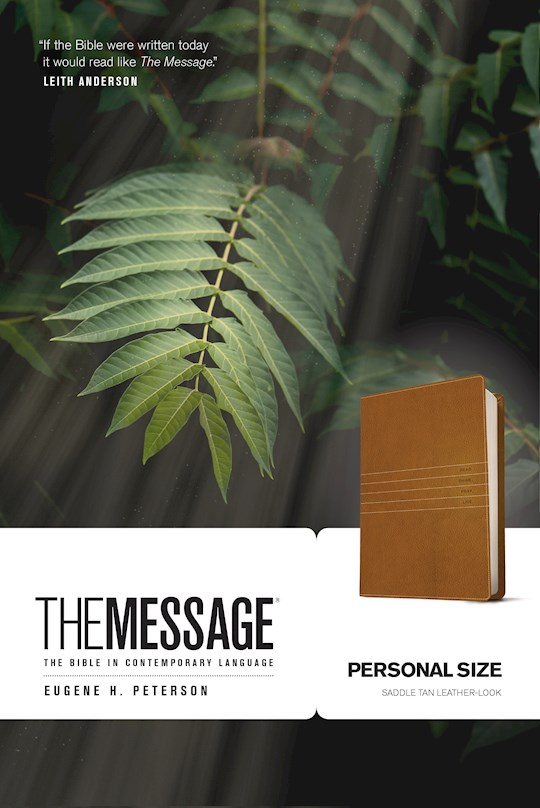 The Message/Personal Size Bible (Numbered Edition)-Saddle Brown LeatherLook | SHOPtheWORD