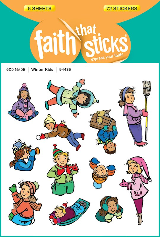 Sticker-Winter Kids (6 Sheets) (Faith That Sticks) | SHOPtheWORD