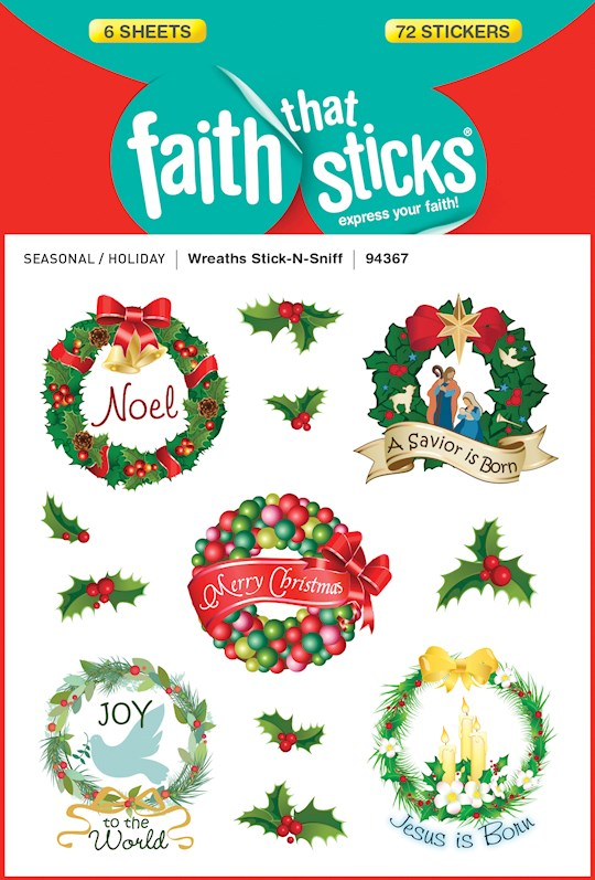Sticker-Wreaths/Stick-N-Sniff (6 Sheets) (Faith That Sticks)   SHOPtheWORD