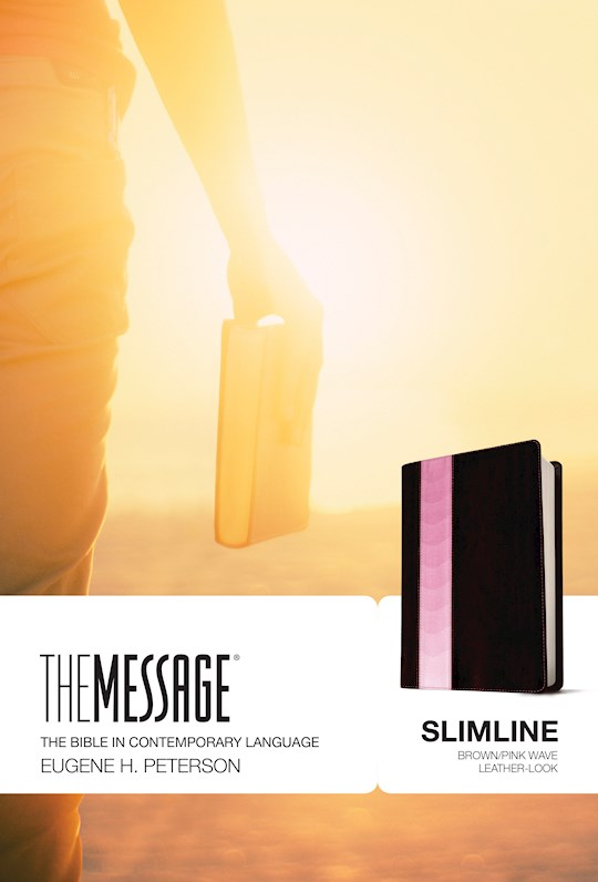 The Message Slimline Bible-Brown/Pink Wave LeatherLook | SHOPtheWORD