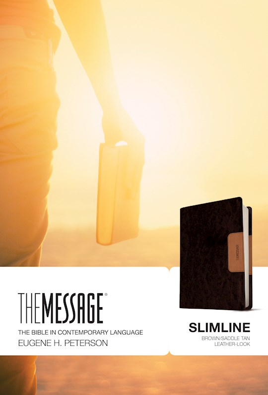 The Message Slimline Bible-Brown/Saddle Tan LeatherLook | SHOPtheWORD