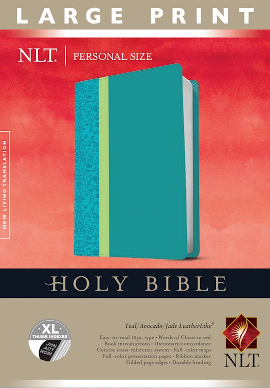 NLT Personal Size Large Print Bible-Teal Avocado/Jade TuTone Indexed   SHOPtheWORD