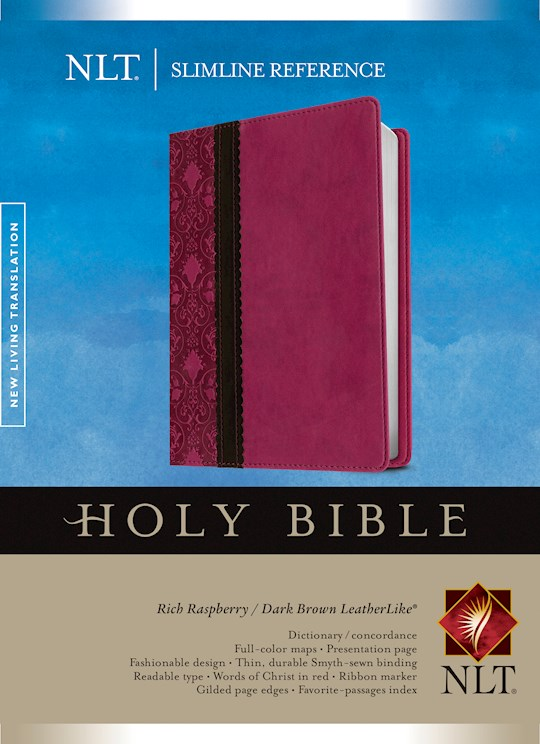 NLT Slimline Reference Bible-Rich Raspberry/Dark Brown LeatherLike | SHOPtheWORD