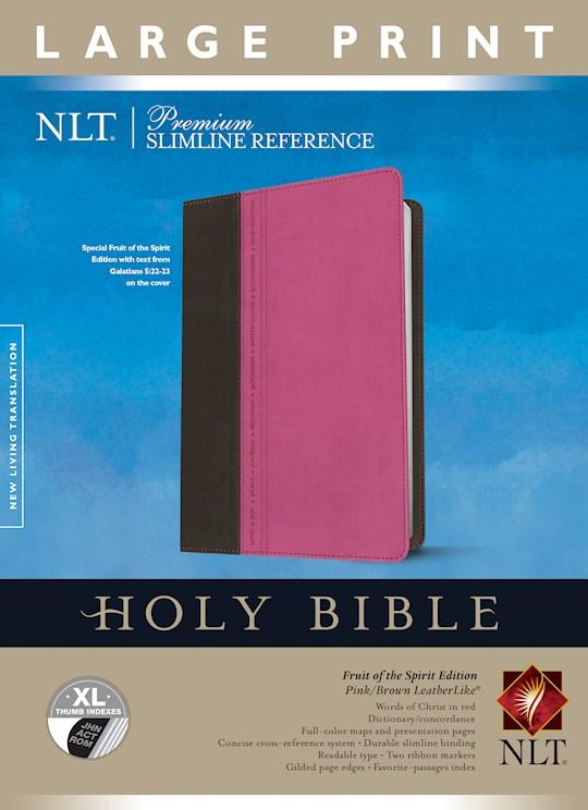 NLT Premium Slimline Reference/Large Print Bible-Pink/Brown TuTone Indexed | SHOPtheWORD