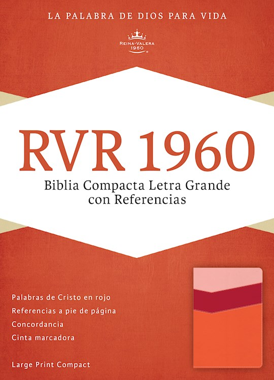 Span-RVR 1960 Large Print Compact Reference Bible (Biblia Compacta Letra Grande)-Mango/Strawberry/Peach LeatherTouch  | SHOPtheWORD