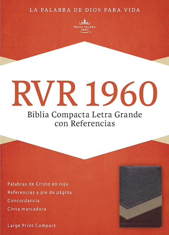 Span-RVR 1960 Large Print Compact Reference Bible (Biblia Compacta Letra Grande)-Brown/Dark Brown/Tan LeatherTouch  | SHOPtheWORD