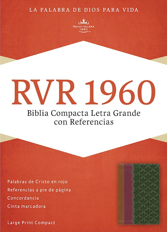 Span-RVR 1960 Large Print Compact Reference Bible-Brown/Plum/Jade LeatherTouch  | SHOPtheWORD