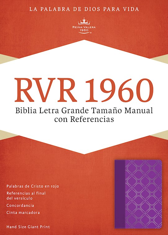 Span-RVR 1960 Hand Size Giant Print Bible-Violet w/Silver Motif LeatherTouch    SHOPtheWORD
