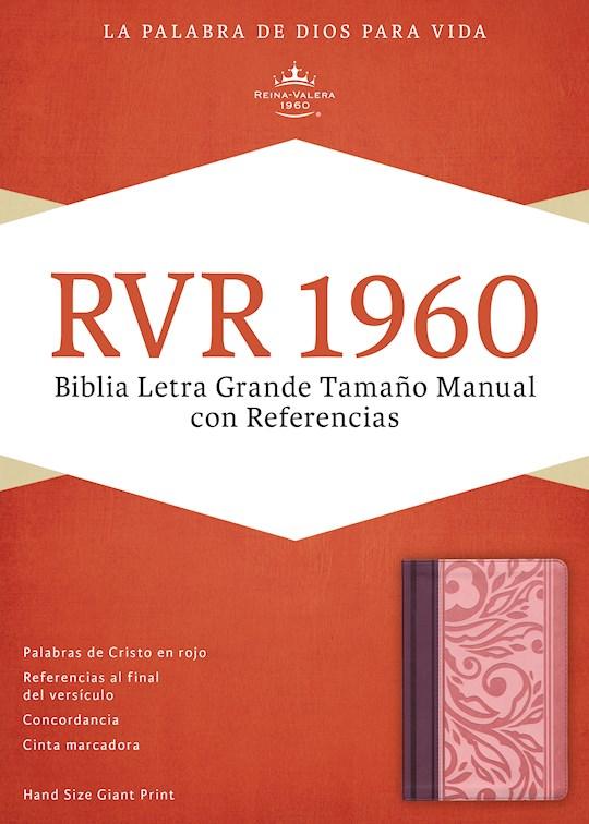 Span-RVR 1960 Hand Size Giant Print Bible (Biblia Letra Grande Tamano Manual)-Blush/Wine LeatherTouch  | SHOPtheWORD