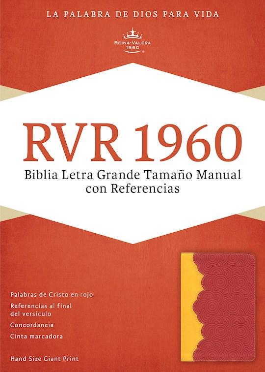 Span-RVR 1960 Hand Size Giant Print Bible (Biblia Letra Grande Tamano Manual)-Amber/Brick Red LeatherTouch  | SHOPtheWORD