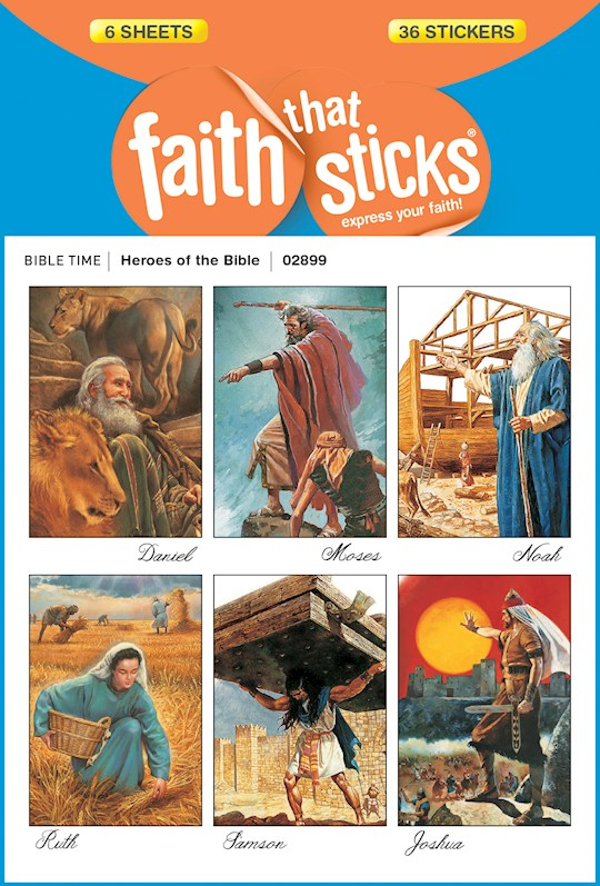 Sticker-Heroes Of The Bible (6 Sheets) (Faith That Sticks) | SHOPtheWORD