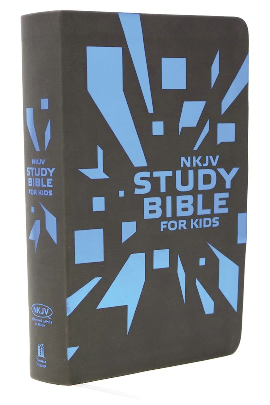NKJV Study Bible For Kids-Blue/Grey Imitation Leather | SHOPtheWORD