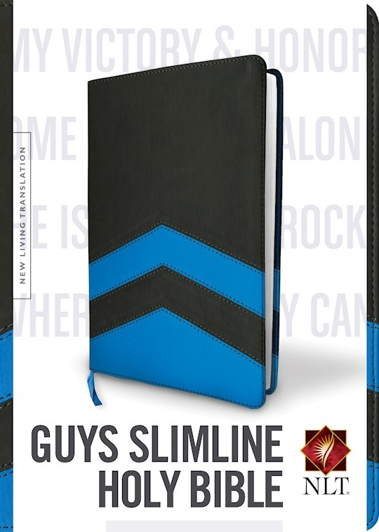 NLT Guys Slimline Bible-Charcoal/Blue Chevron TuTone LeatherLike | SHOPtheWORD